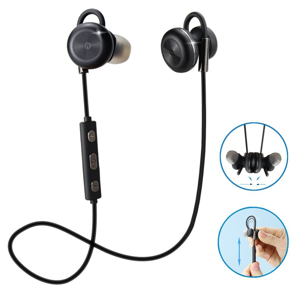 Comsoon Bluetooth Headphones Magnet Attraction Adjustable Ear Hook Wireless V4 1 In Ear Sports Earbuds Noise Cancelling Sweatproof Stereo Headset Earphones With Micphone Black Comsoom Online Shopping Mall