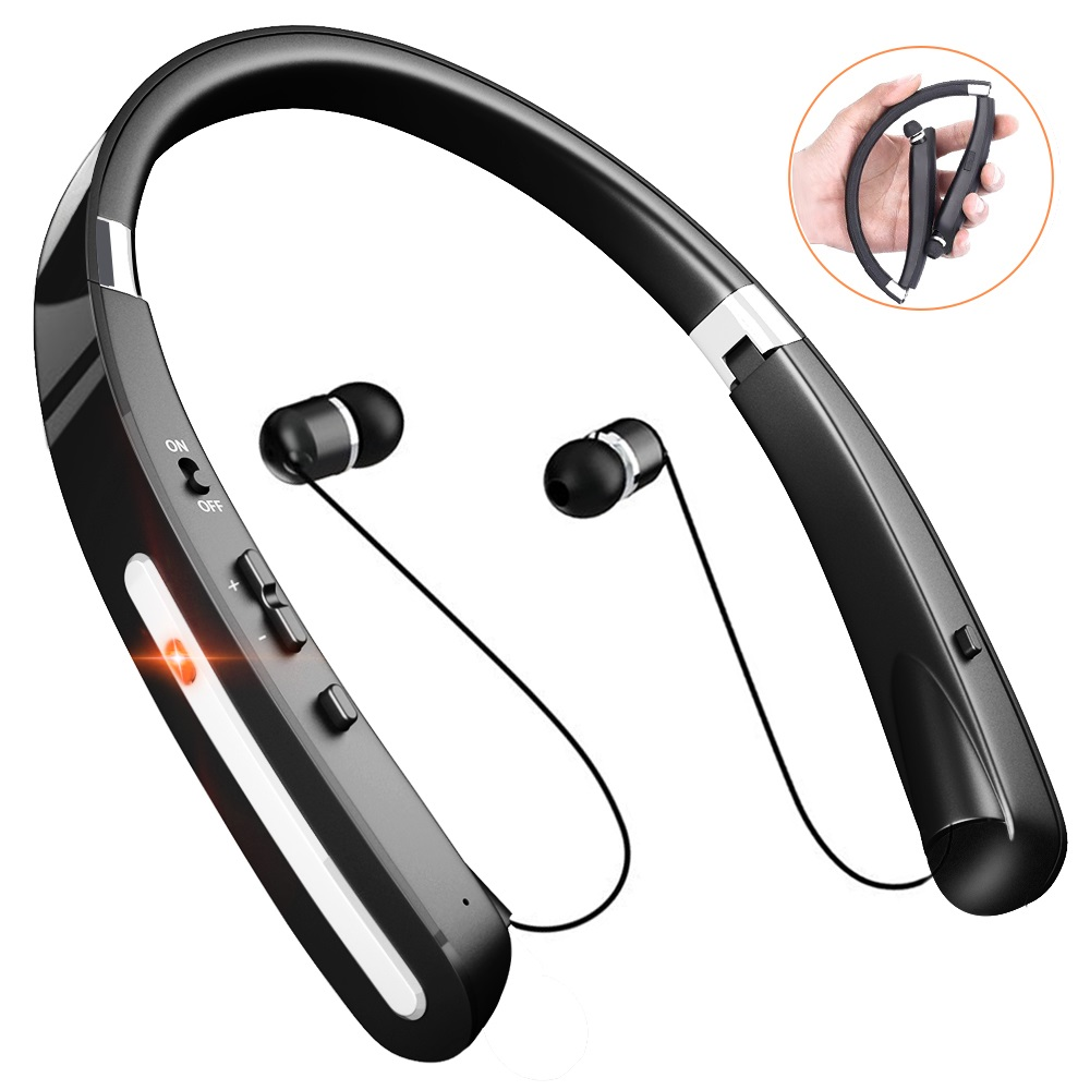 Wireless Bluetooth Headphones, Comsoon Neckband Headset [20 Hours Playtime][Foldable Design] with Retractable Earbuds, Sweatproof Sport Running In Ear Stereo Earphones with Mic (Black)