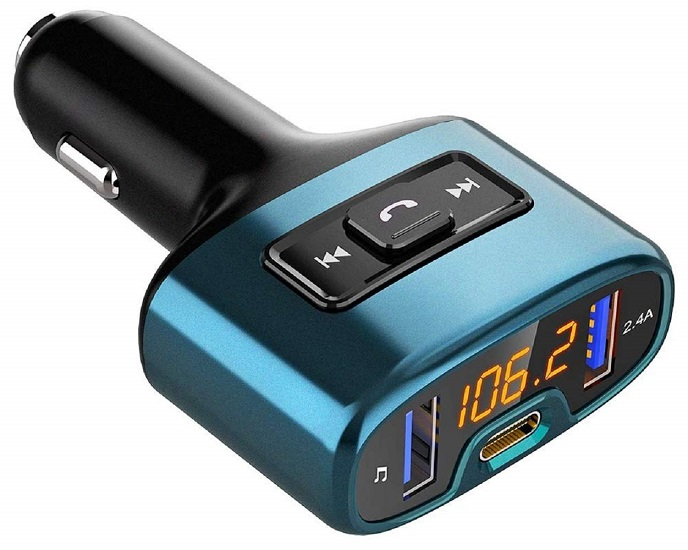 Bluetooth FM Transmitter for Car, COMSOON Wireless Radio Receiver Music Player Car Kit with PD 18W Type-C Charger Ports, Dual USB Ports, Hands Free Calling, Support USB Flash Drive (Black)